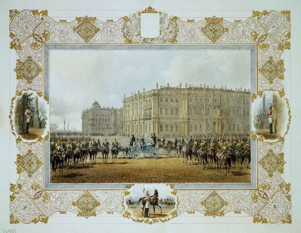 Vasily Semenovich Sadovnikov. Watch-the parade of the cavalry regiment in front of the Winter Palace