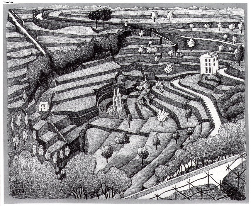 Maurits Cornelis Escher. The slope of the terrace in Ravello