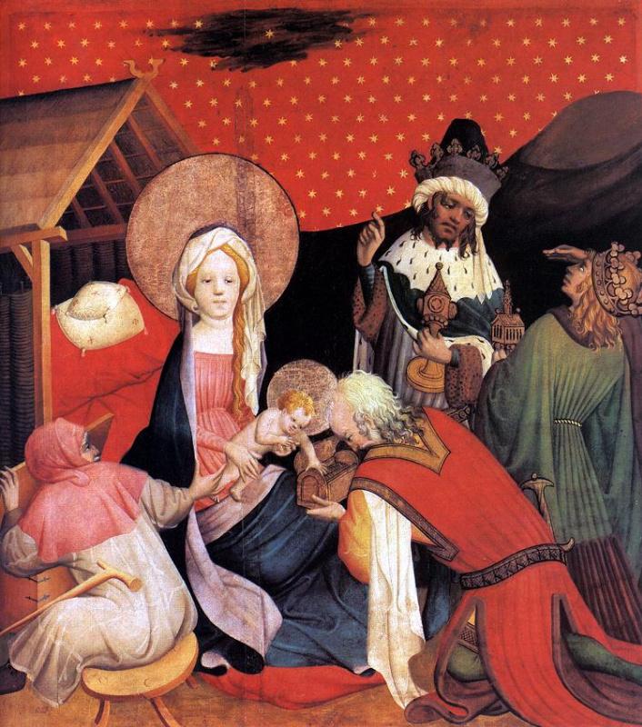 Мастер  Франке. Алтарь Святого Фомы из церкви Святого Иоанна в Гамбурге. Поклонение волхвов