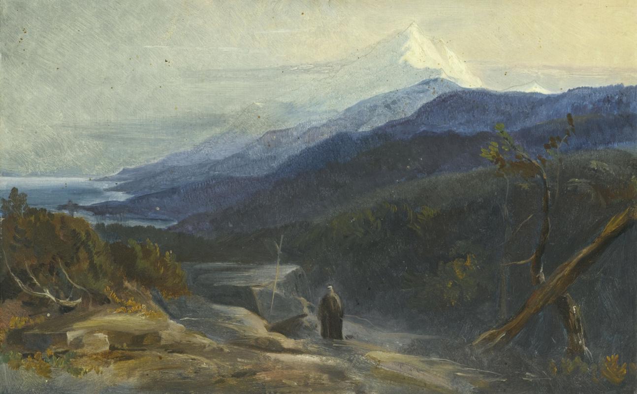 Эдвард Лир. View of Mount Athos, Greece