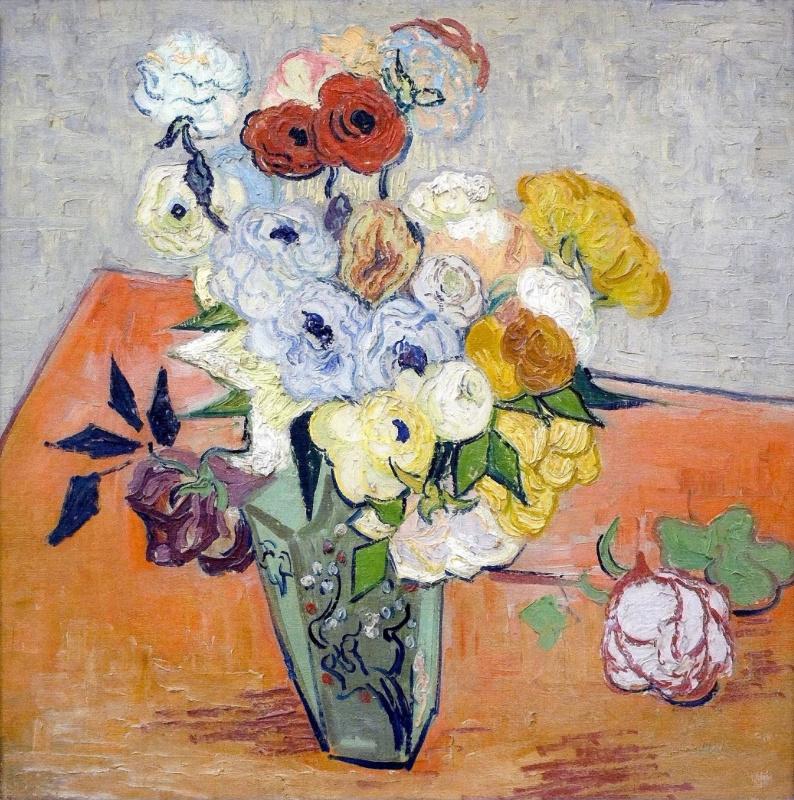 Винсент Ван Гог. Японская ваза с розами и анемонами