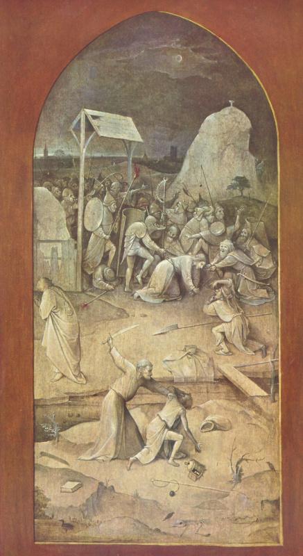 """Иероним Босх. Взятие Христа под стражу. Триптих """"Искушение Святого Антония"""". Левая внешняя створка"""