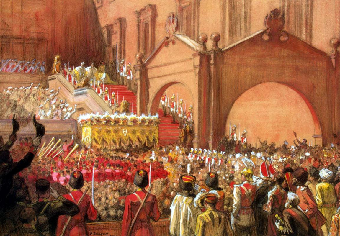 Альберт Густав Аристид Эдельфельт. Выход императора Николая II после коронации на Красное крыльцо