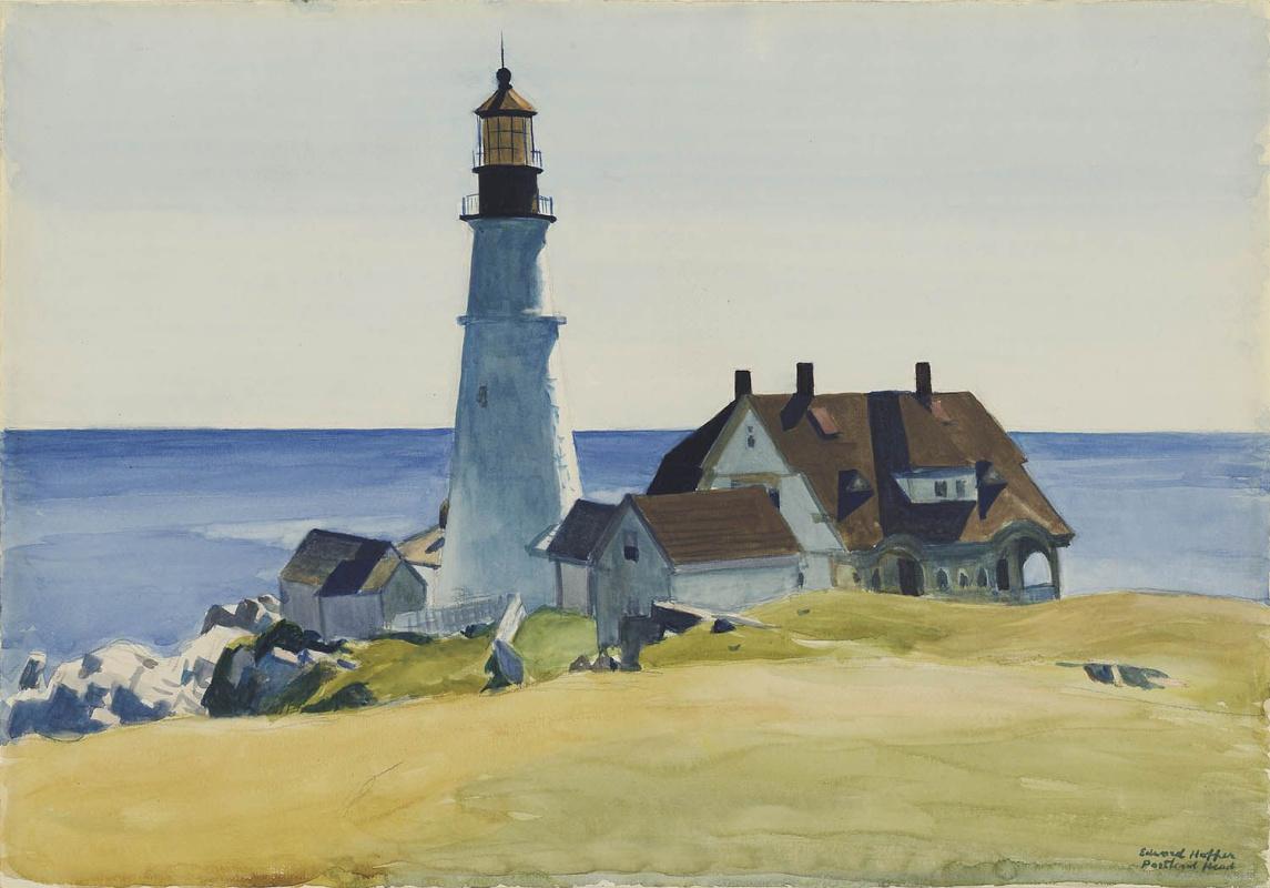 Edward Hopper. Lighthouse and houses, Cape Elizabeth, Maine