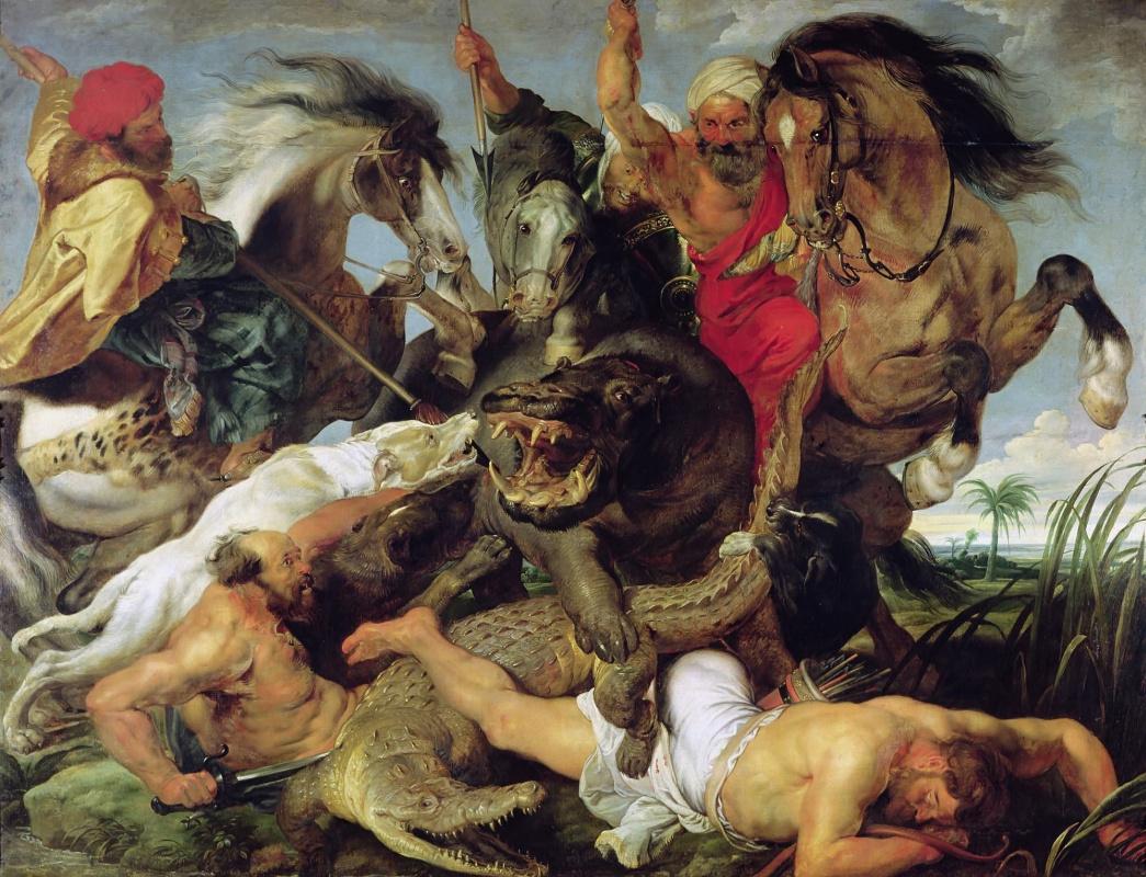 Peter Paul Rubens. Hunt on hippopotamus and crocodile