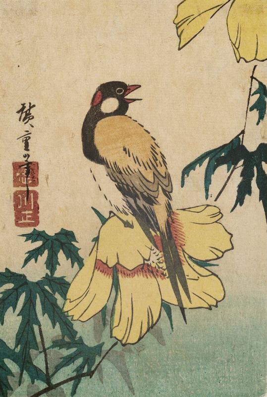 Utagawa Hiroshige. Bird on the flower of a yellow hibiscus