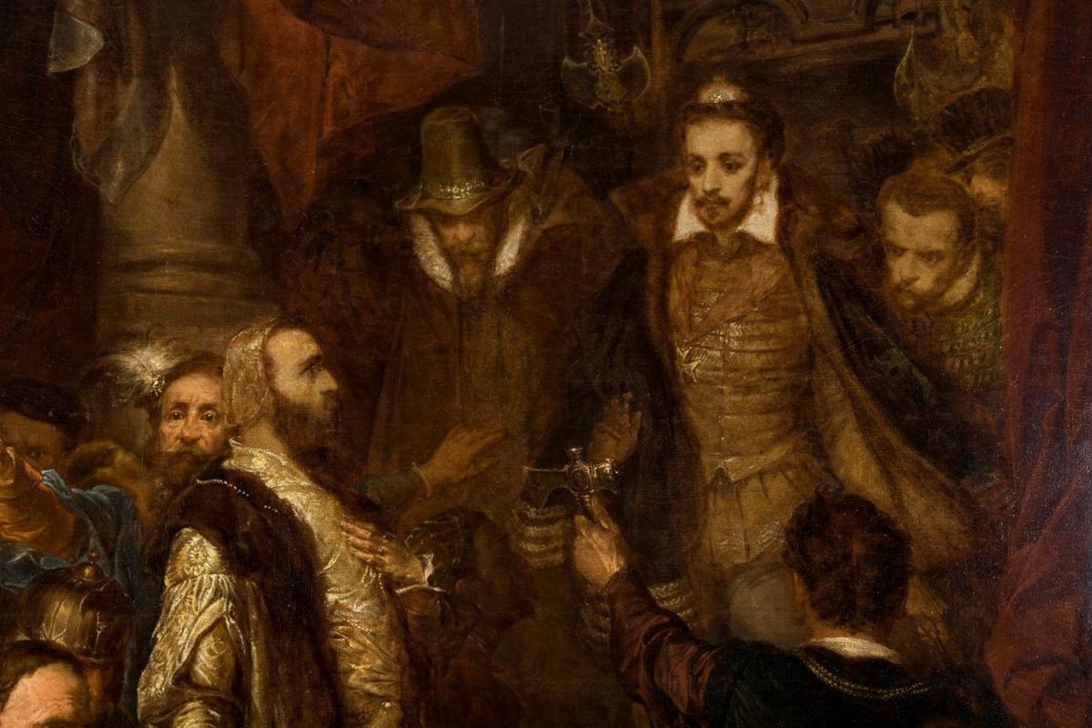 Ян Матейко. Убийство Ваповски во время коронации Генриха Валуа. Фрагмент. Ян Тешински перед Генрихом