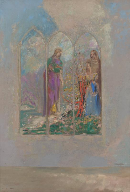 Odilon Redon. Devotion near a red Bush