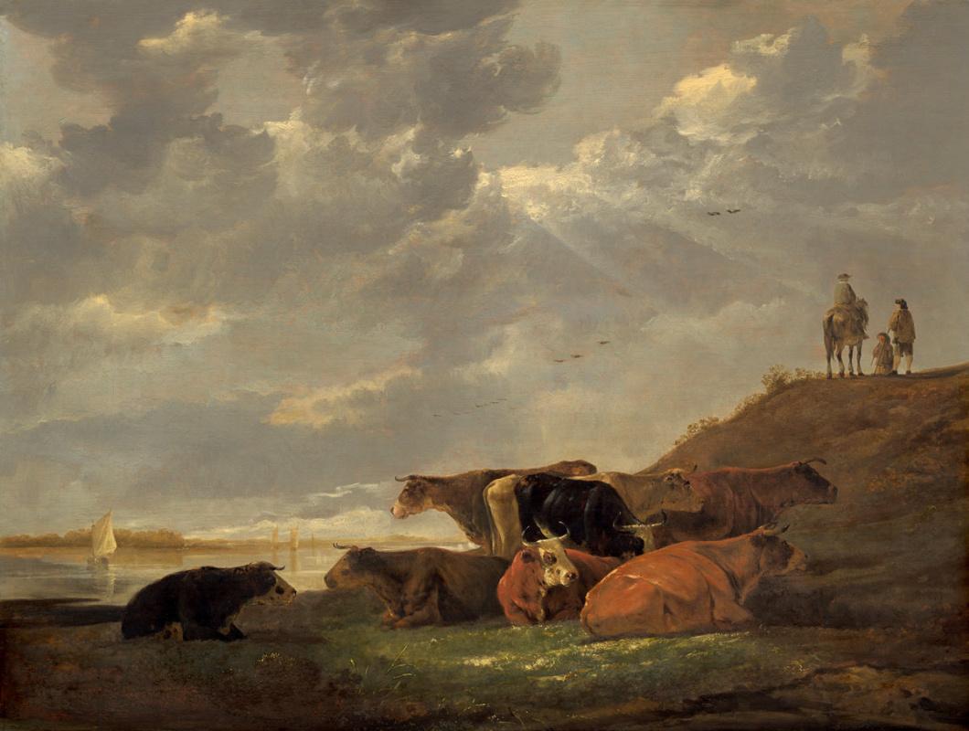 Альберт Якобс Кейп. Речной пейзаж с коровами