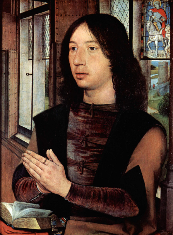 Hans Memling. Diptych of the virgin and child and donor, Martin Nieuwenhove. The right panel