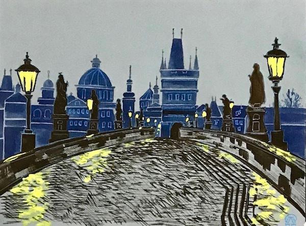 Larissa Lukaneva. Evening Boulevard. Sketch.
