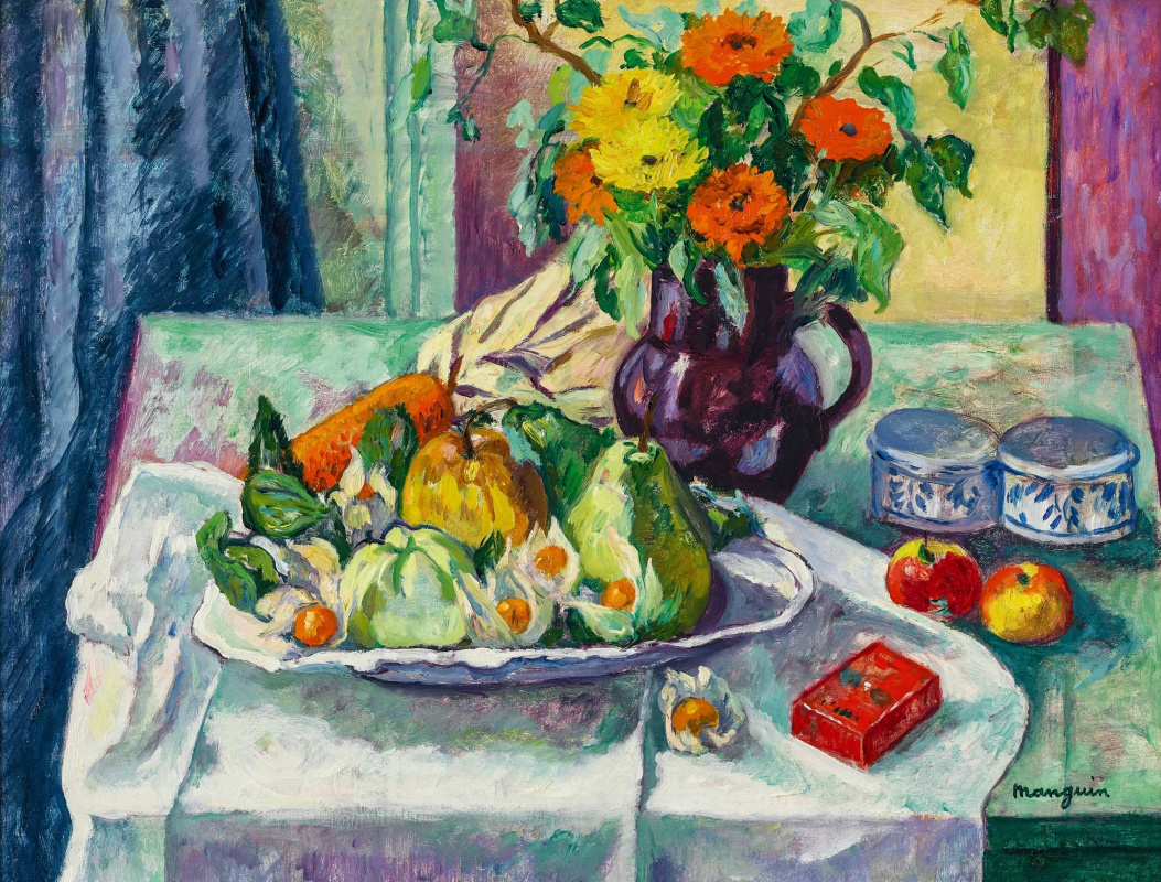 Henri Manguin. Still life with flowers and fruit