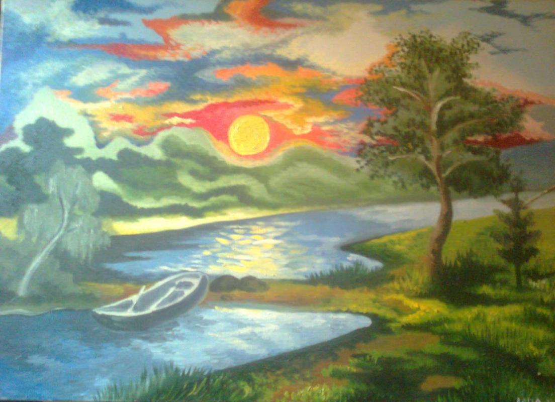 Natalia vladimirovna paw. Sunset on the river.