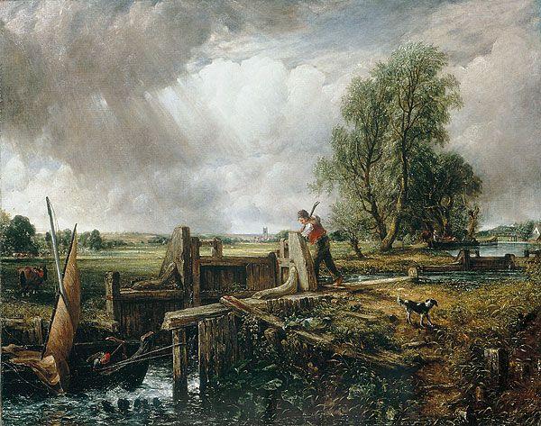 Джон Констебл. Лодка, проходящая плотину