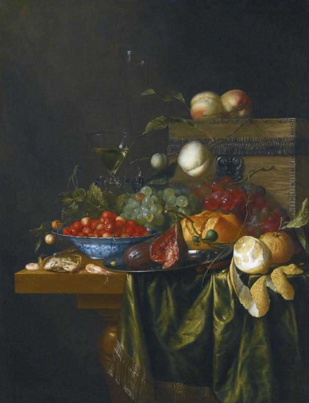 Натюрморт с апельсинами, персиками, виноградом и вишнями на столе