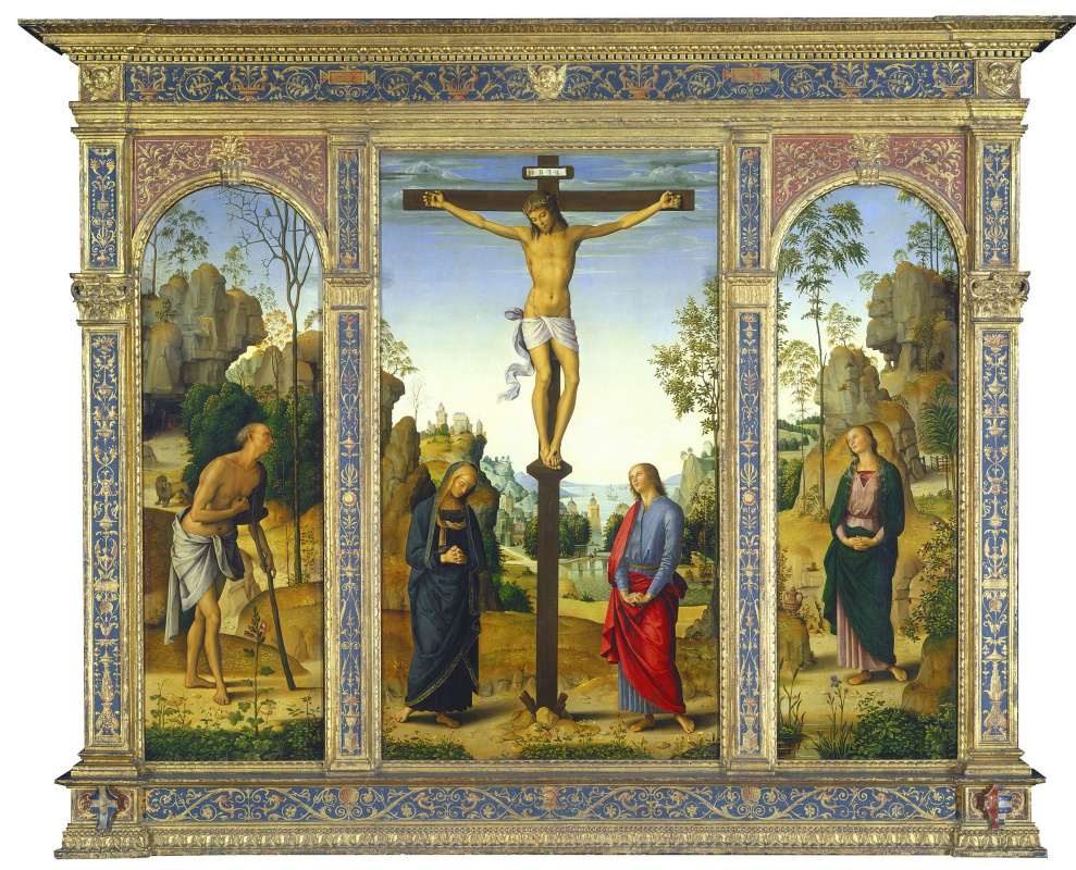 Pietro Perugino. The crucifixion with the Madonna, St John the Baptist, Saint Jerome, Mary Magdalene