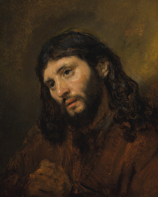 Рембрандт Харменс ван Рейн. Этюд головы и сложенных рук молодого человека, или Христос в молитве