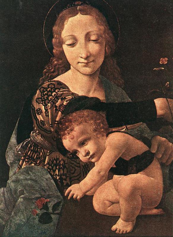 Джованни Антонио Болтраффио. Дева с младенцем и цветойной вазой