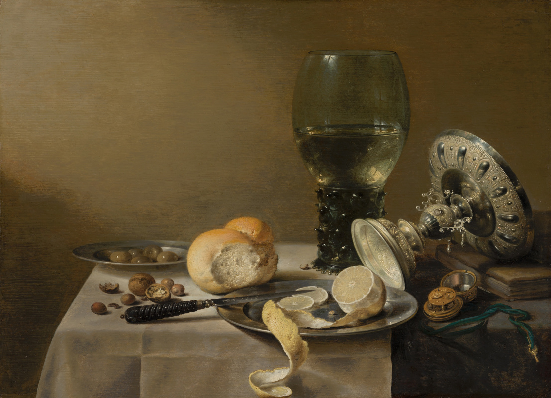 Pieter Claesz. Still-life with wine glass, vase, bread and lemon