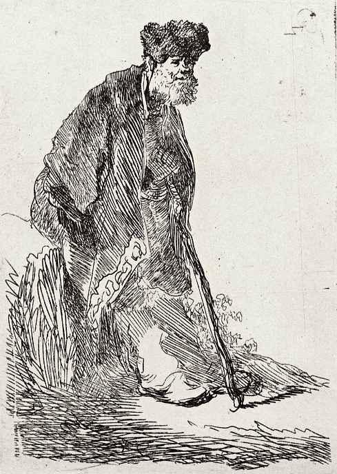 Рембрандт Ван Рейн. Стоящий бородатый старик, опирающийся на палку