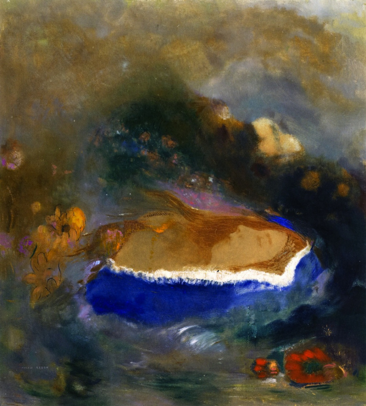 Одилон Редон. Офелия в голубом плаще на воде