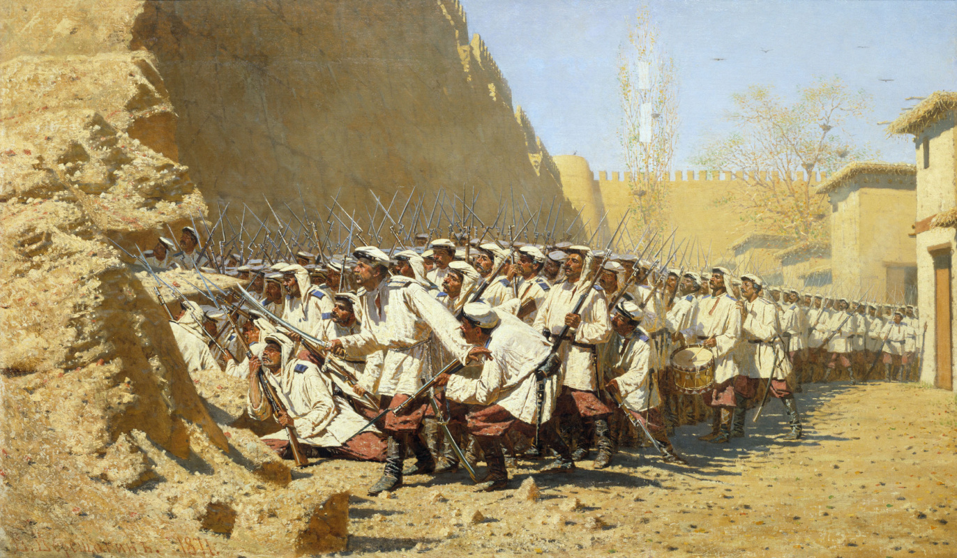 """Vasily Vereshchagin. At the fortress wall. """"Let him come"""""""
