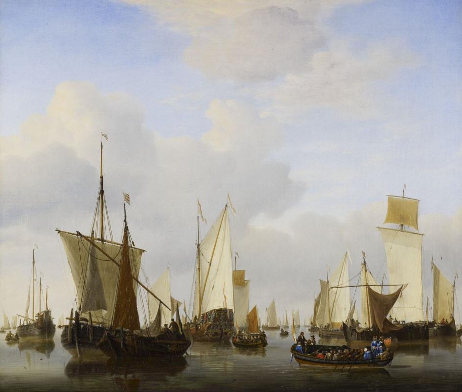 Виллем ван де Вельде Младший. Затишье. Государственная яхта, баржа и множество других судов под парусами