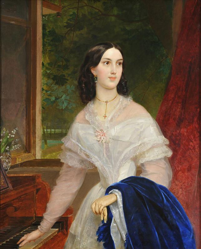 Портрет молодой женщины у фортепьяно