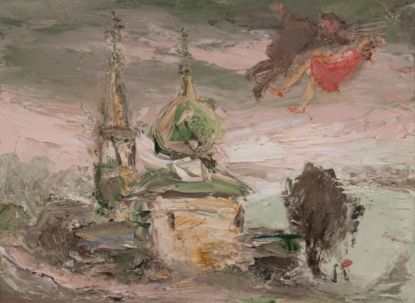 Anatoly Stepanovich Slepyshev. Landscape with a church