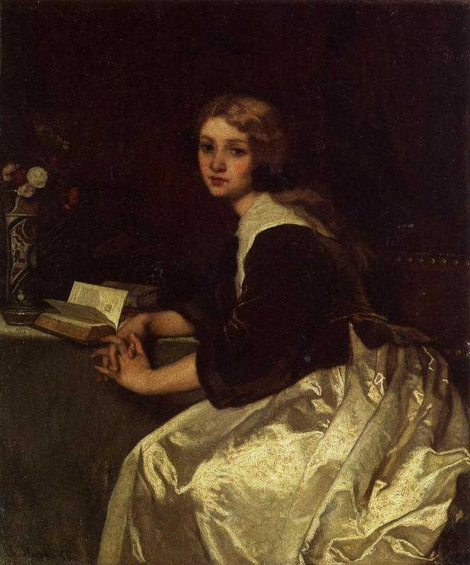 Альфред Стивенс. Сидящая девушка с книгой
