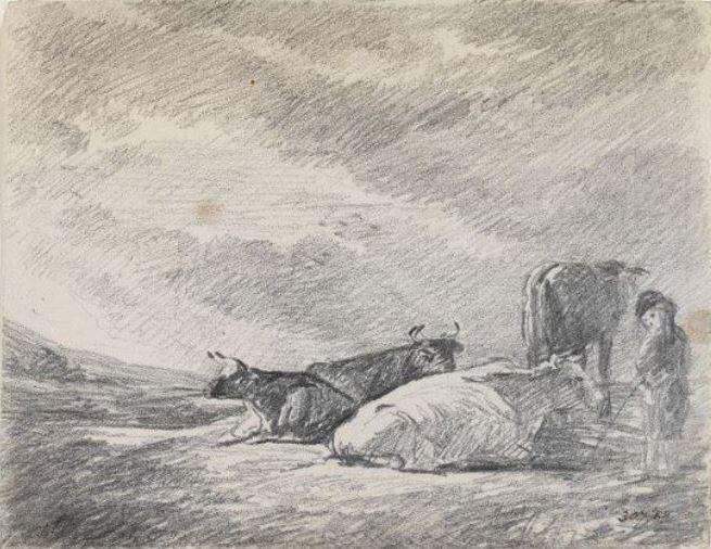 John Constable. Cows and a shepherd