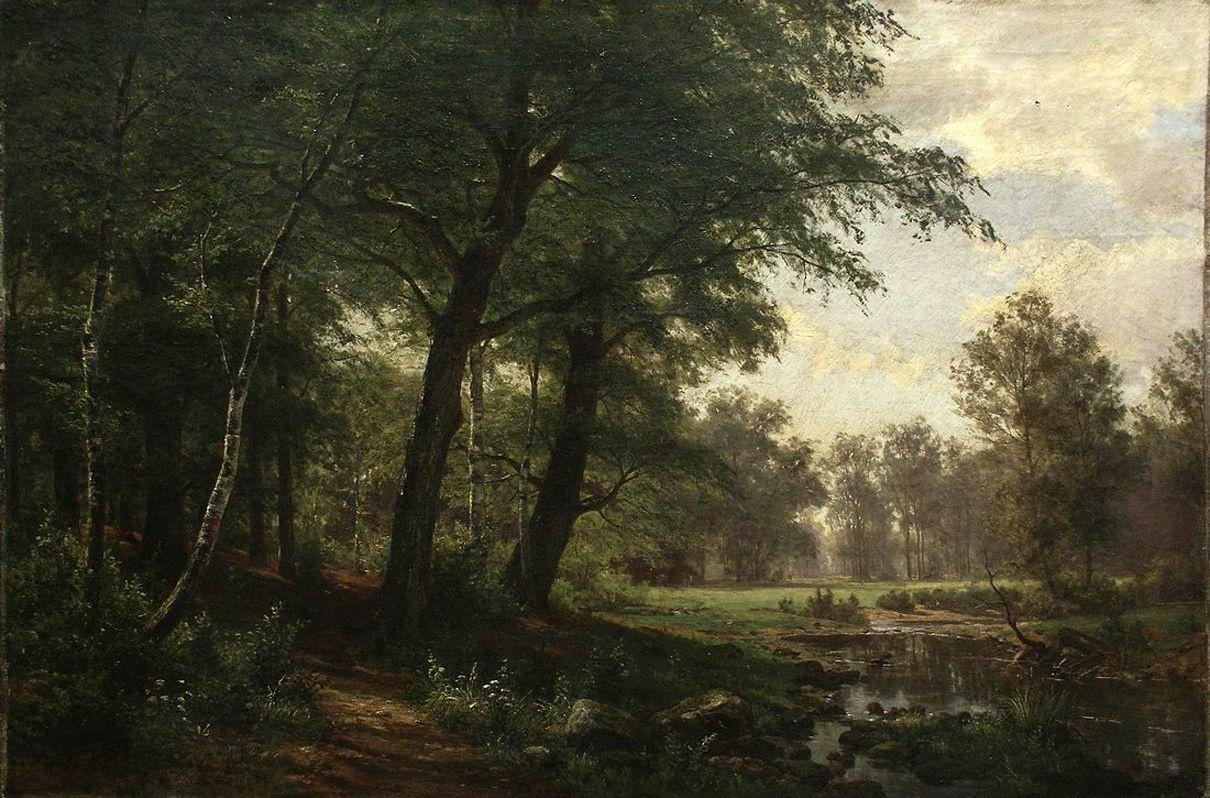 Иван Иванович Шишкин. Лесной пейзаж с ручьем
