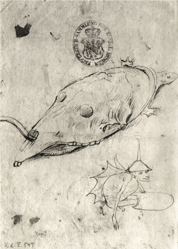 Hieronymus Bosch. Turtle skull on the carapace and winged demon