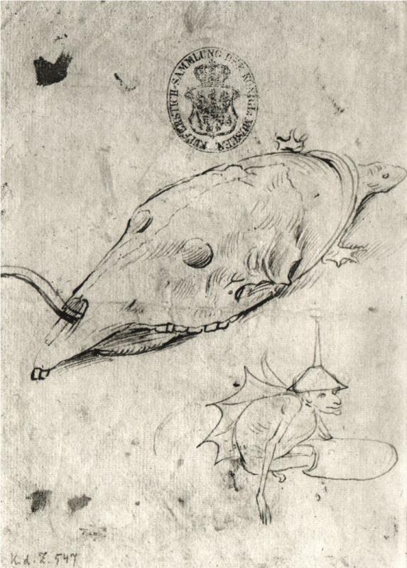 Иероним Босх. Черепаха с черепом на панцире и крылатый демон