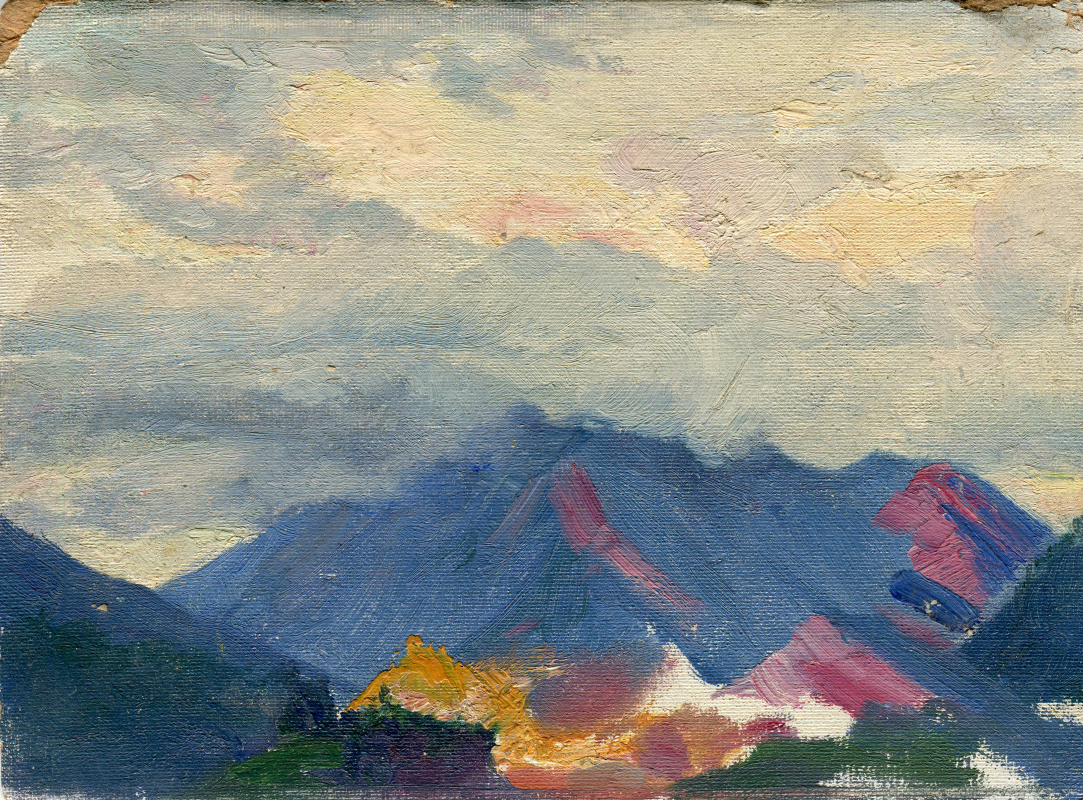 """Vasily Fadeevich Demin. Study """"Mountains in the Clouds"""""""