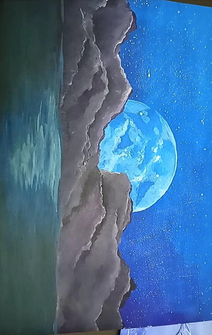 Надежда Бугайчук. Луна, Лунная ночь, Ночной лес, Олень
