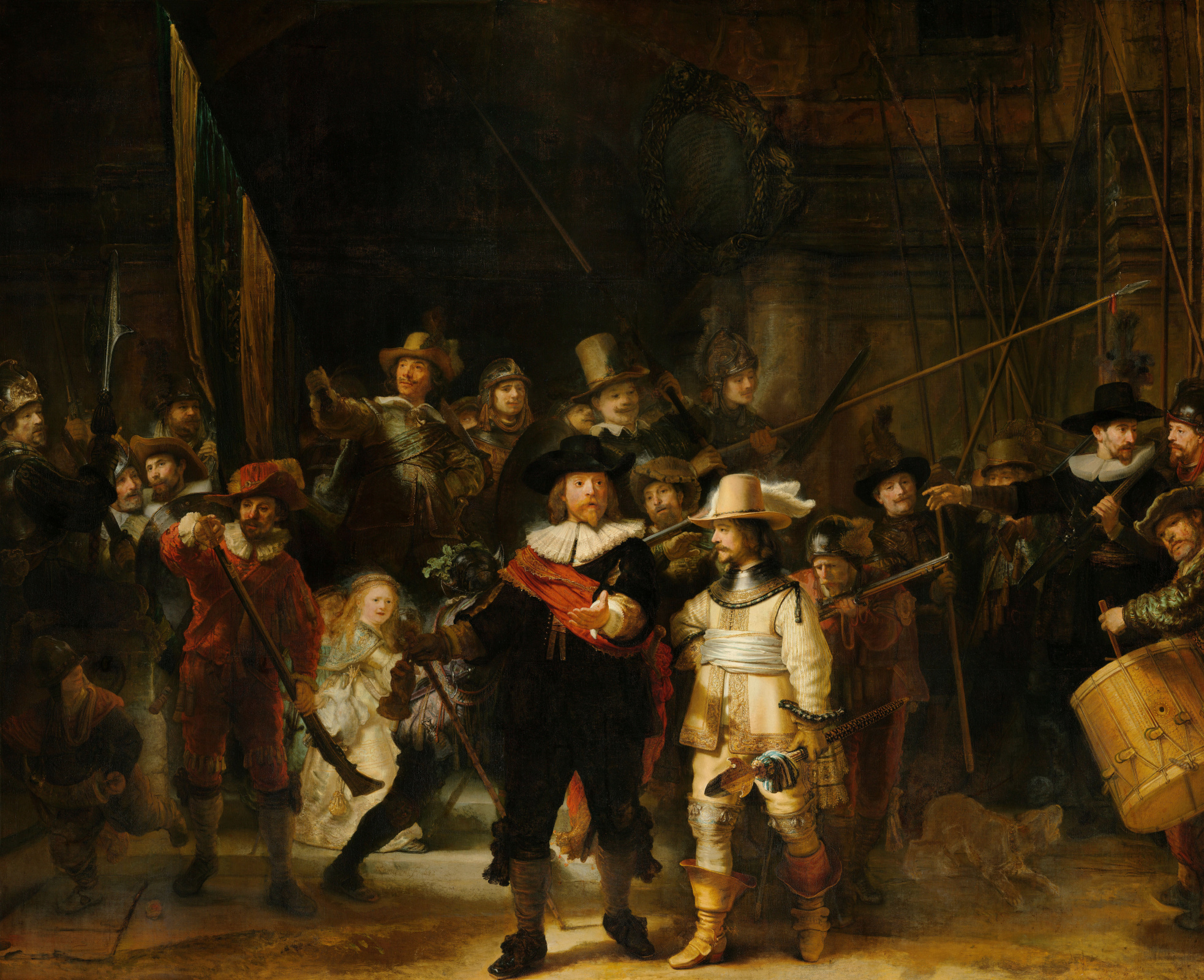 Rembrandt Harmenszoon van Rijn. The night watch, or The Shooting Company of Frans Banning Cocq and Willem van Ruytenburch
