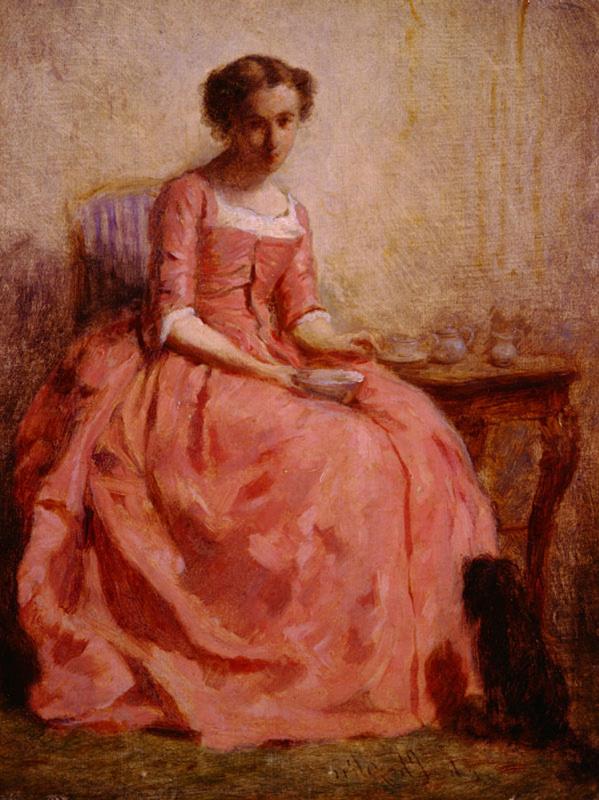 Чарльз Чаплин. Девушка в розовом платье с собакой