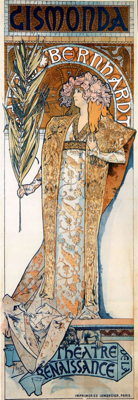 """Alfons Mucha. The poster for the play """"Gismonda"""" with Sarah Bernhardt"""