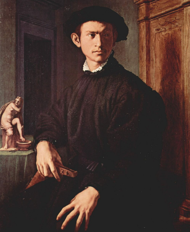 Agnolo Bronzino. Portrait of a young man with a lute