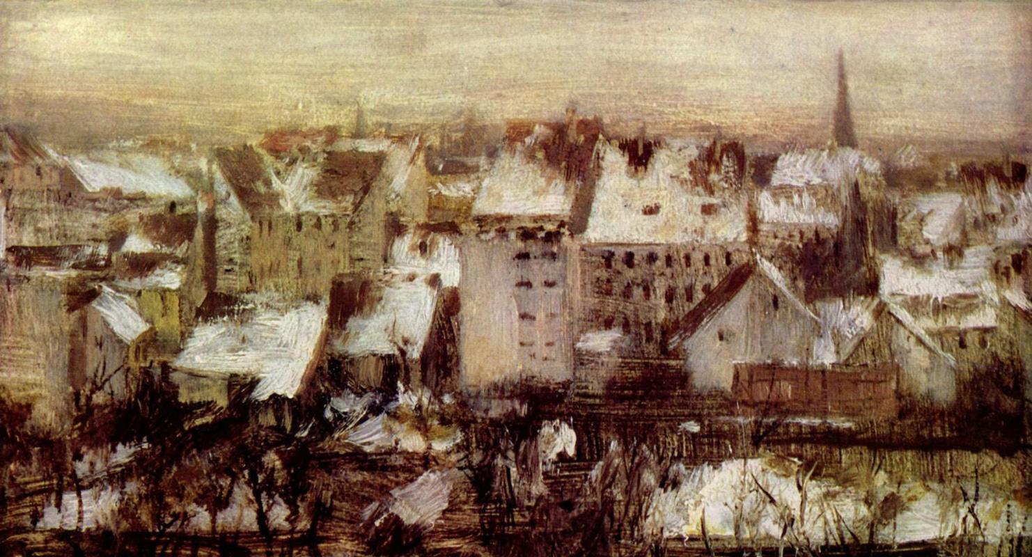 Adolf Friedrich Erdmann von Menzel. The backyards in Berlin in the snow