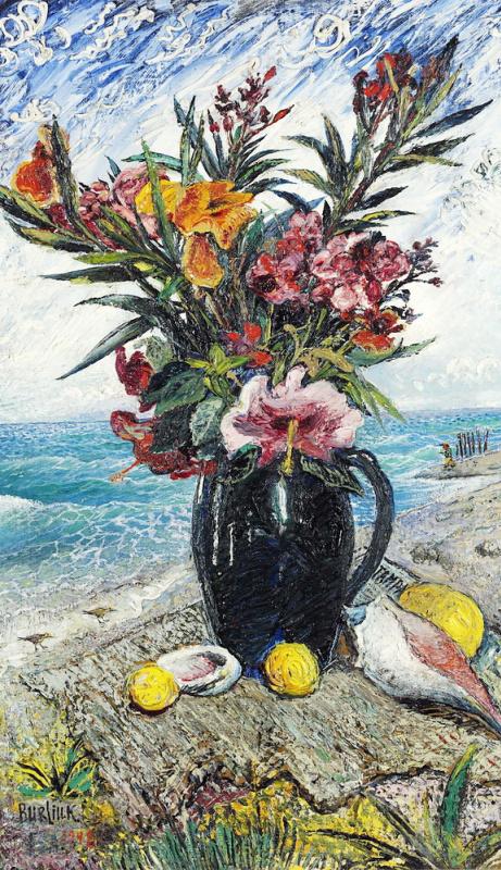Давид Давидович Бурлюк. Натюрморт с цветами на фоне моря