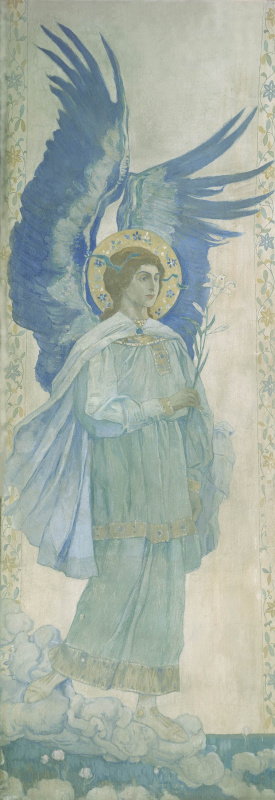 Mikhail Vasilyevich Nesterov. The Annunciation. Archangel Gabriel. The painting of the pylon of the Pokrovsky Cathedral of the Marfo-Mariinsky convent in Moscow