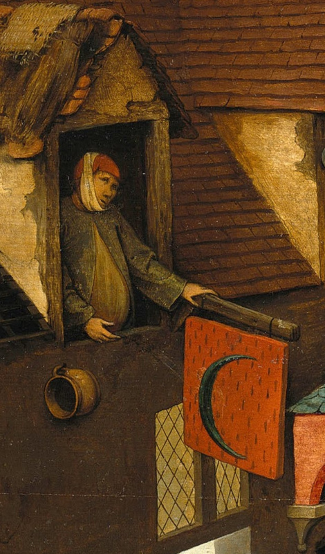 Pieter Bruegel The Elder. Flemish proverbs. Fragment: Having a toothache behind the ears - to pretend. Peeing on the moon - wasting time on useless efforts