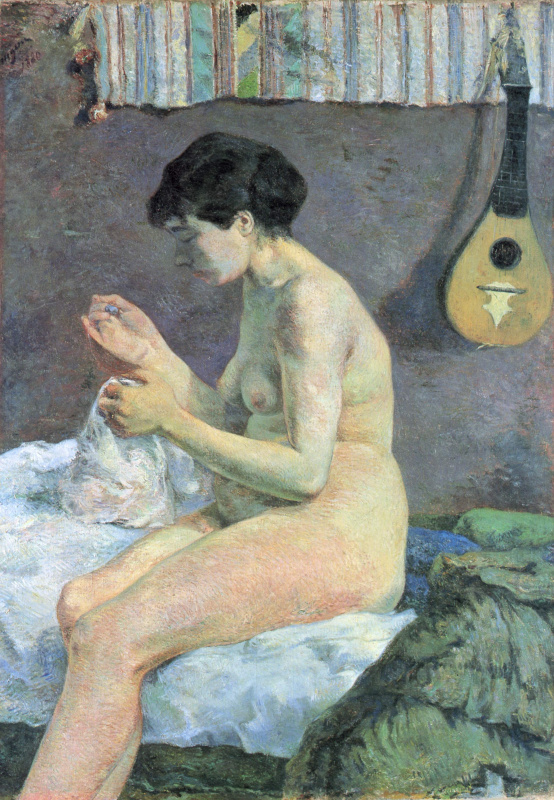 Suzanne sewing. Sketch Nude