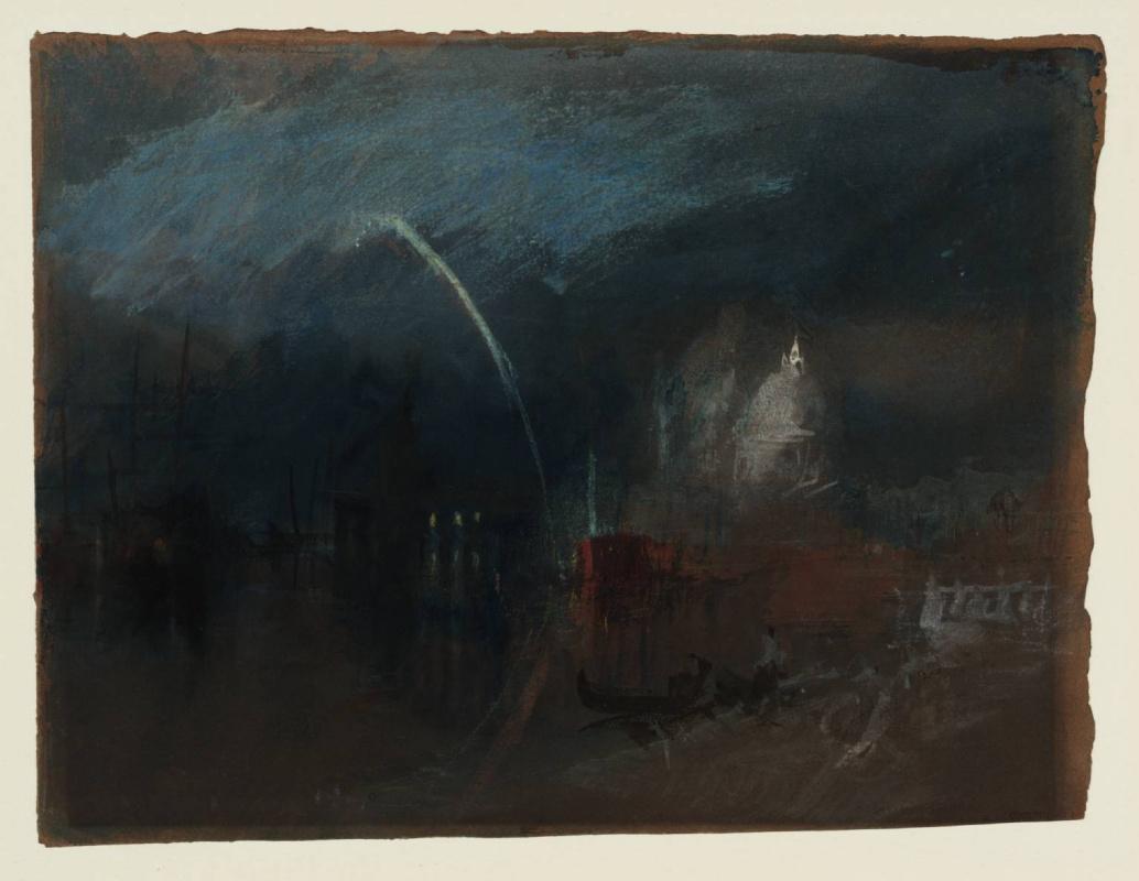 Joseph Mallord William Turner. Venice: Santa Maria della Salute, night scene with rockets
