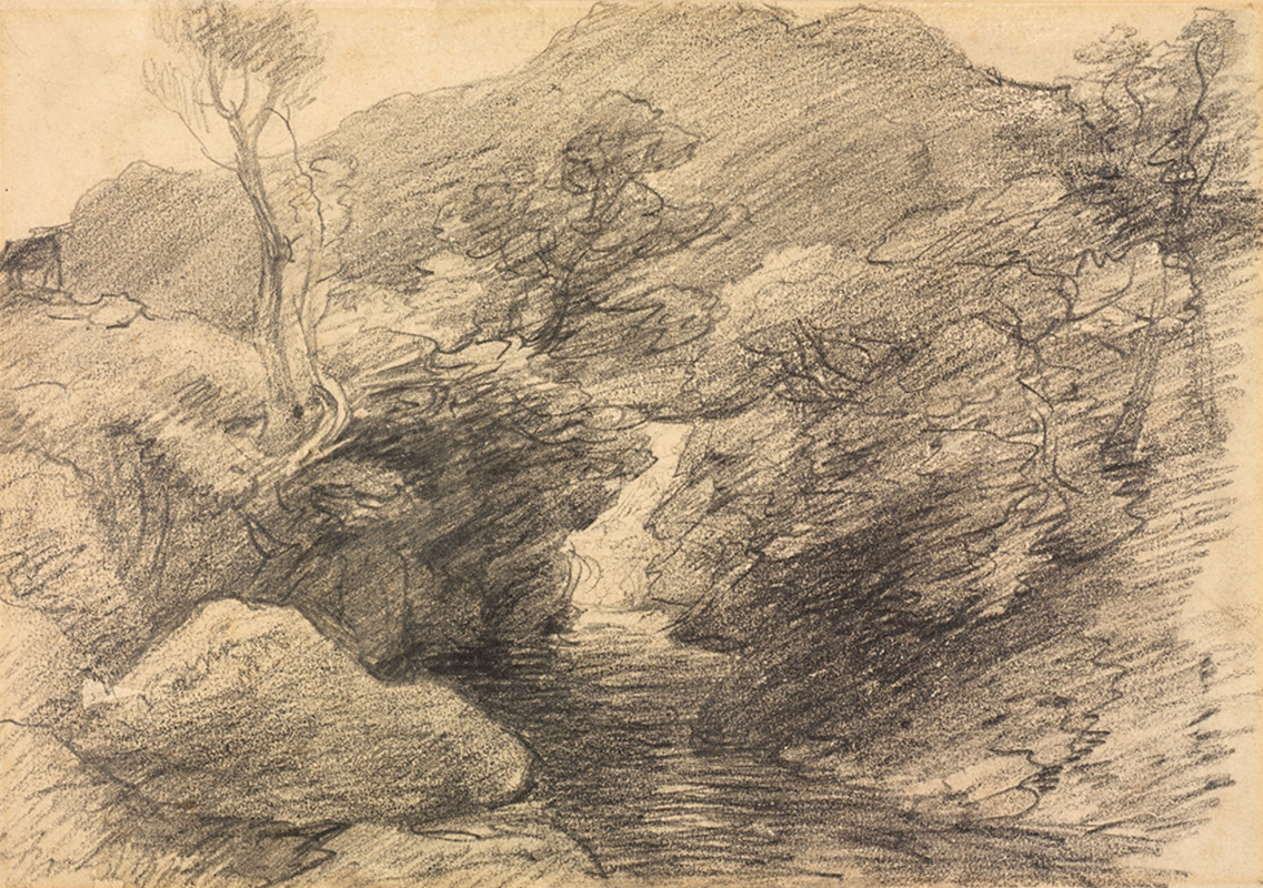 John Constable. Landscape with waterfall