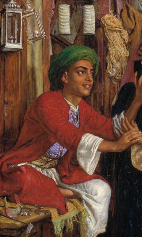 Уильям Холман Хант. Ухаживание продавца фонарей. Уличная сцена в Каире. Фрагмент