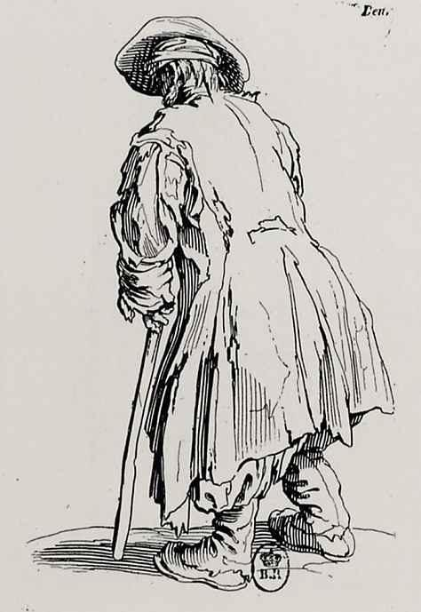Жак Калло. Нищий с клюкой со спины