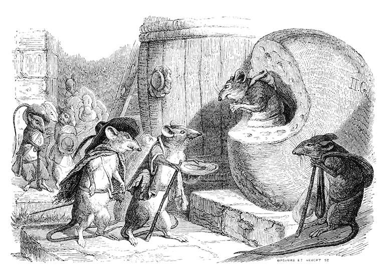 Jean Inias Isidore (Gerard) Granville. The Union of Rats. Illustrations to the fables of Jean de Lafontaine